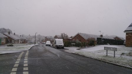 The snow has started to settle in Claydon. Picture: STEVEN WARD