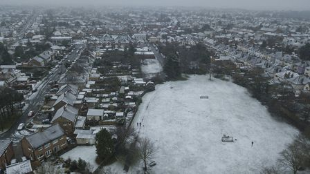 Ipswich had a sprinkling of snow yesterday. Picture: SKY CAM EAST