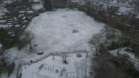Aerial photograph captures sprinkling of snow in Ipswich from the air. Picture: SKY CAM EAST