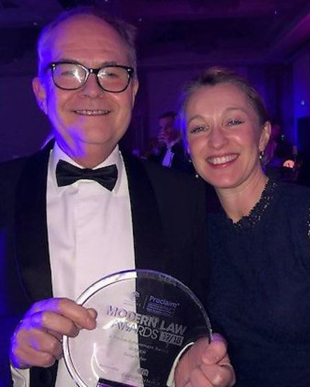 Tony Fisher, senior partner at Fisher Jones Greenwood, and his wife, Liz Fisher-Frank, with his Life