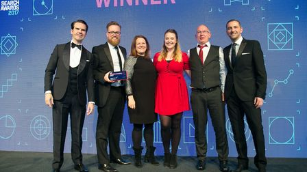 UK Search Awards, Winners Best Use of Search B2B, Crafted & Workspace Group. From left to right, Jim