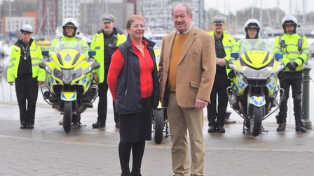 Jane Storey and Police and Crime Commissioner Tim Passmore with the road casualty reduction team at