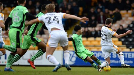 Opening goal: Courtney Senior marks his full league debut with a goal, at Port Vale yesterday aftern