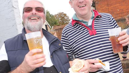 Andy Shepherd and Andrew Hodson at the sausage festival. Picture: SEANA HUGHES