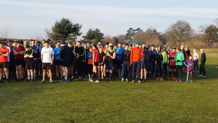 Runners, joggers and walkers assemble for the start of the Kesgrave parkrun on Saturday. Pictures: K