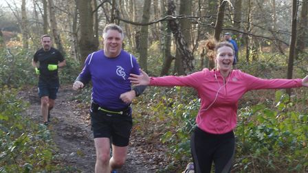 Happy faces: runners going through Dobbs Woods at Saturday's Kesgrave parkrun