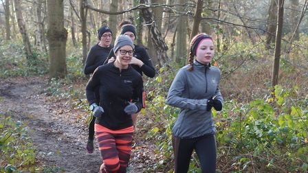 Tranquil setting: runners make their way through the wooded section in Saturday's Kesgrave parkrun