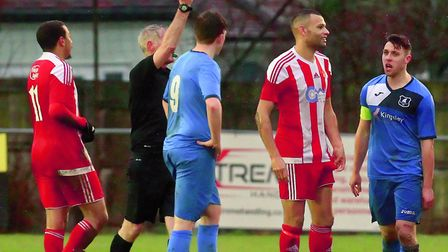 Wroxham's Tom Matthews (right) gets his marching orders for a second yellow card. Picture: STAN BAST