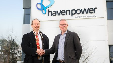 Ipswich MP Sandy Martin, left, with Haven Power's chief operating officer, Paul Sheffield, during hi
