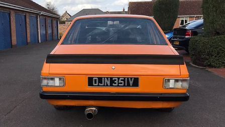 The Ford Escort 1300 GL, which has been reported stolen from Freckenham, Suffolk