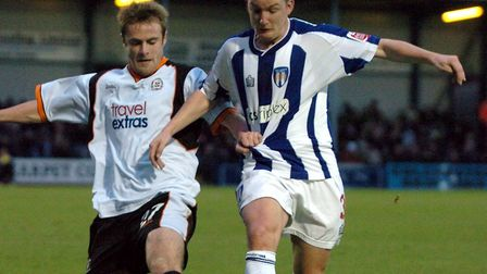 Joe Keith, right, grappling for the ball against Luton Town at Layer Road, in January 2005. It wa Ke