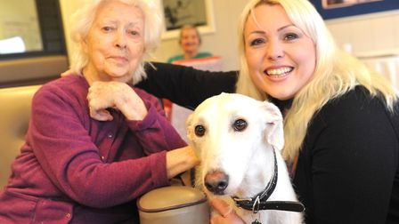 Resident Phyllis Page with Sinbad the dog and home manager Katy Hughes. Picture: LUCY TAYLOR