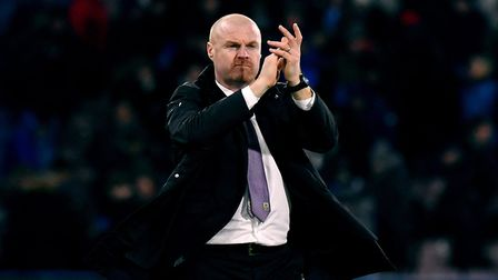 Sean Dyche acknowledges the fans after the final whistle. He has just signed a lucrative new deal.