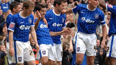 Pablo Counago celebrates his goal with his team-mates as Ipswich beat Wolves 3-0 at Portman Road