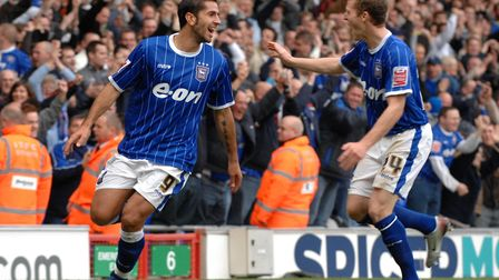 Pablo Counago celebrates his goal with Billy Clarke in the 3-0 win over Wolves at Portman Road in Oc
