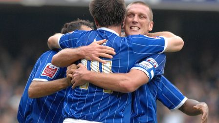 Alan Lee celebrates his opener for Ipswich with skipper Jason De Vos in the 3-0 win over Wolves at P