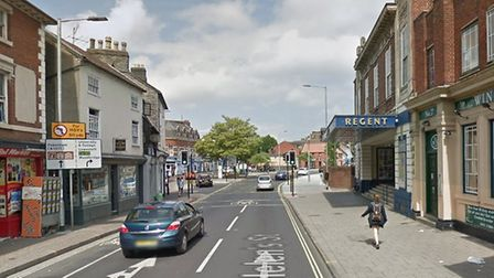 The collision took place in St Helen's Street, Ipswich, close to the Regent Theatre. Picture: GOOGLE