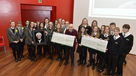 The winning East Bergholt High School and Alde Valley Academy students with Holocaust survivor, Fran