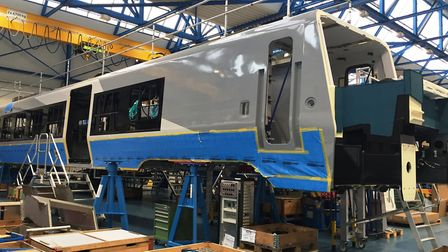 The first train to be build by Stadler for Greater Anglia takes shape at its factory in Switzerland.