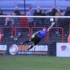 Braintree's Nathan McDonald can't quite reach Callum Driver's free kick as Welling go 1-0 up. Pictur