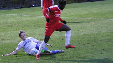 Ben Wyatt wins a tackle for Braintree at Welling. Picture: JON WEAVER