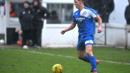 Ryan Jolland in action for Bury Town during their defeat against Cheshunt. Picture: SARAH LUCY BROWN