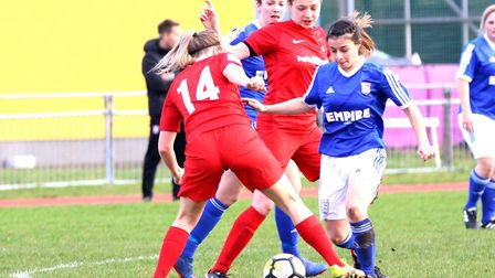 Ipswich Town winger Zoe Cossey battles for the ball. Picture: ROSS HALLS
