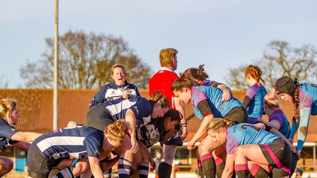 The Woodbridge Amazons, right, and Chelmsford scrum down. Picture: SIMON BALLARD