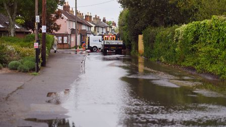 A previous burst water main in Holbrook. Picture:SARAH LUCY BROWN