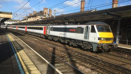 An Intercity train at Ipswich Station heading for London, Stock Image