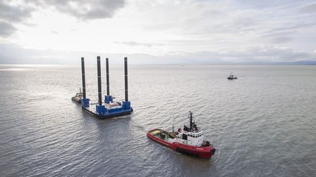Red7Marine's Eurojack 3923 jack-up barge under tow on its way to Hinkley Point in Somerset. Picture