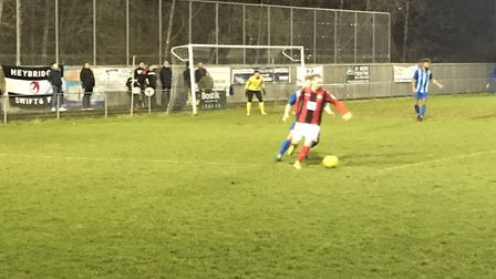 Action from Heybridge's Bostik North clash at Ware last night. The match ended in a 0-0 draw. Pictur