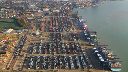 Looking towards the sea, along the line of quays of the Port of Felixstowe. Picture: Mike Page