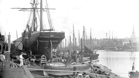 The barquentine Thomas on the slip at Lowestoft. Picture: VIA POPPYLAND PUBLISHING