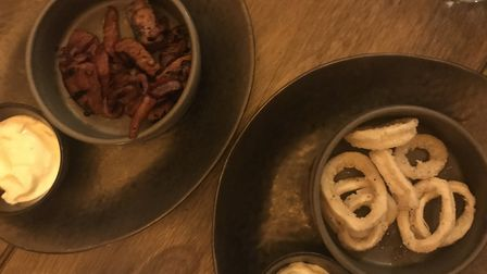Chorizo and squid for starters at The Forge Kitchen. PICTURE: Archant