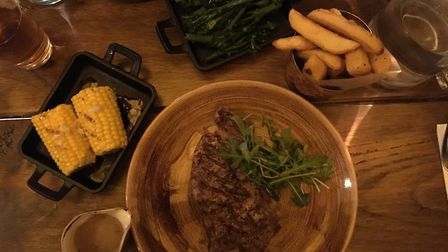 Sirloin steak, chunky chips and corn at The Forge Kitchen, Ipswich. PICTURE: Archant