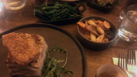 Pork belly, root veg and tenderstem broccoli at The Forge Kitchen. PICTURE: Archant