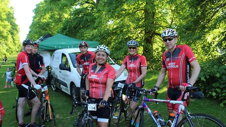 Carol Watson, centre, and fellow members of the West Suffolk Wheelers at the start of last year's We