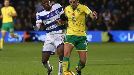 Colchester United's new loan signing, Olamide Shodipo, in action for QPR against Norwich City's Grah