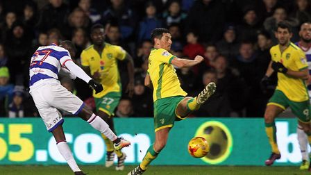 U's new signing, Olamide Shodipo, cracks in a shot for QPR during a Championship match against Norwi