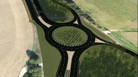 Artist's impression of the new A120 roundabout at Hare Green. Picture: HIGHWAYS ENGLAND
