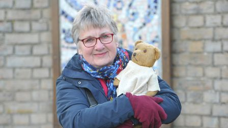 Carole Josey with her bear Jennifer that survived the flood. Picture: SARAH LUCY BROWN