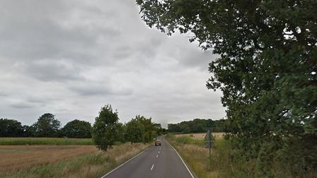 The Ixworth Road, near Stowlangtoft, was blocked by a crashed quad bike. Picture: GOOGLE MAPS