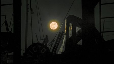 The super blue moon behind the silhouette of Sailing Barge Victor at Pin Mill. Picture: ANTHONY CULL