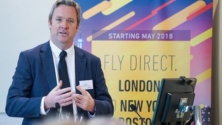 London Stansted chief exeucitve Ken O'Toole talking at Primera Air's launch event.