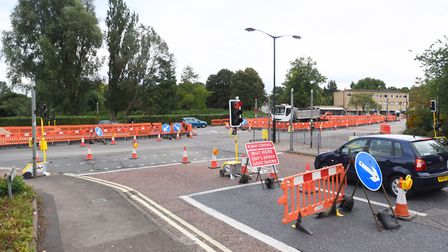 Road junction next to the Spread Eagle pub is undergoing maintenance work. Picture: GREGG BROWN
