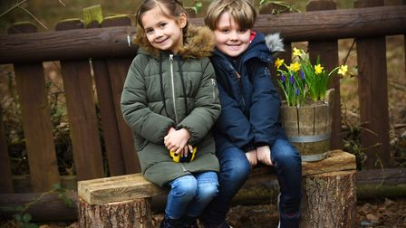Enjoying the Ring Quest event at West Stow Anglo-Saxon Village is Zara and Sebastian. Picture: GREGG