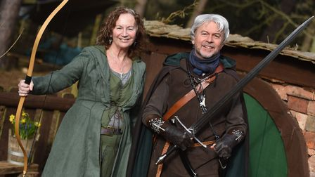 Half term event, Ring Quest at West Stow Anglo-Saxon Village. Left to right, Glynis and Alan Baxter.