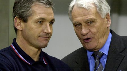 George Burley, pictured with Sir Bobby Robson, is the last man to have led Ipswich to the Premier Le
