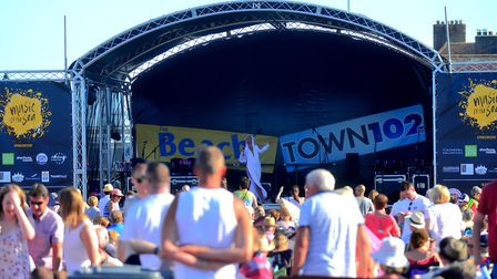 Crowds enjoy the entertainment at Music by the Sea. Picture: SIMON PARKER